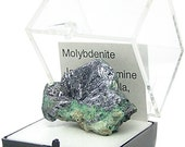Molybdenite in Matrix, Silvery Metallic Hexagonal Crystals Thumbnail Mineral Geology Specimen Mined in Chile, rockhound's gemstone