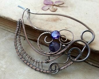 Spiral Silver Shawl Pin, Scarf Pin, Silver Sweater Brooch, Silver Wire Knitting Accessories, Purple Silver Pin,  Gift for Her, Closure