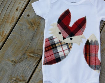 Baby Fox Shirt, Fox Bodysuit, Woodland Bodysuit, Plaid Fox Bodysuit, Wildlife Baby, Rustic Baby, Baby Shower Gift