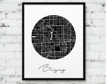 Beijing City Urban Map Poster. Beijing Street Map Print. Black White Beijing China Print. Printable Poster Decor Travel Gift. Printable Art