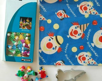 Clown party supplies, cake toppers, candles, clown cookie cutter, vintage clown wrapping paper