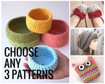 Choose ANY 3 PATTERNS, Crochet Pattern PDF,Easy, Great for Beginners