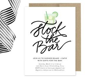 Printable Stock the Bar Invitation, Couples Shower Invitation, Bachelorette, Bachelor, DIY Couples Shower Invitation, Mod, Retro, Mad Men