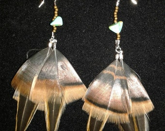 Bronze and turquoise, beaded Feather earrings.