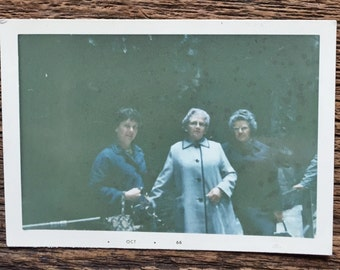 Original Vintage Color Photograph Blue Ladies