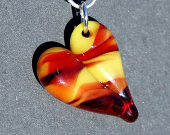 Heart Necklace Glass Jewelry, Flamework Pendant Lampwork Boro, Hand Blown Red Yellow Necklace