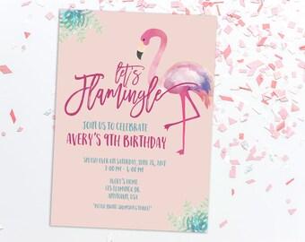 Flamingle Birthday Invitation, Flamingo Party, Girl Birthday, Pink, Swim Party, Printable