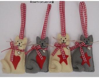 Hanging Cat Ornament, felt cat ornament, cat lover, cat gift, cat decor, cat decoration, handmade cat, felt cat, catlady