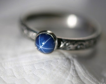 Round 6 mm Blue Star Sapphire and Sterling Silver Ring on Vine Pattern Band in Antique Silver Finish