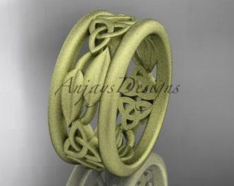 14kt yellow gold celtic trinity knot wedding band, matte finish wedding band, engagement ring CT7511G