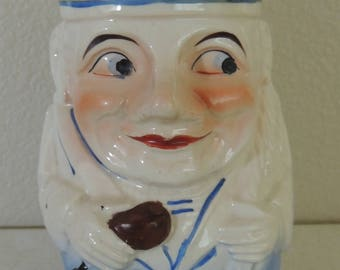 Vintage 1950s Sailor Boy Toby Jug Made in Japan Blue & White Excellent Condition Toby Mug Sailor Collectibles Cottage Chic
