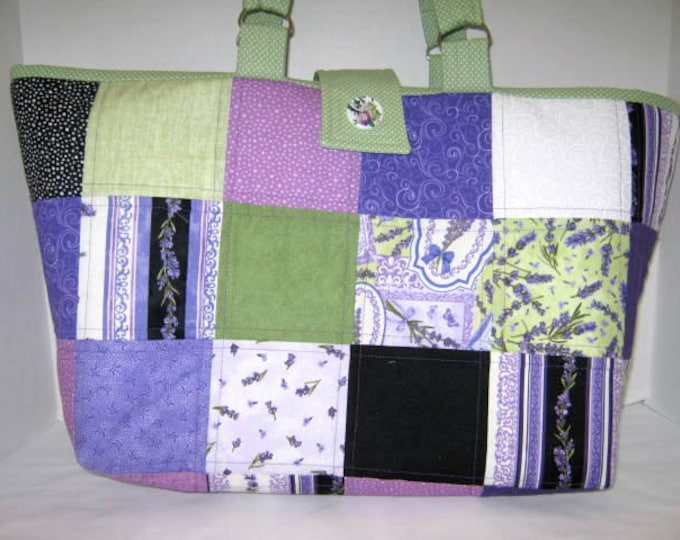 Pale Purple Quilted Craft Tote with Pockets, Library Books Market Bag,