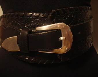 Vintage 1970s Black Cowgirl Boho Tool Leather Belt with Silver Brass Buckle