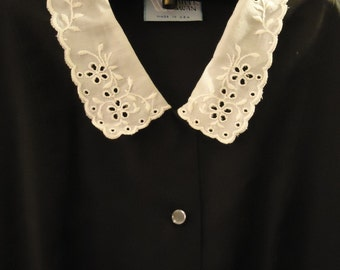 Vintage Black Lace Embroidered Collar Dress