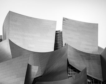 Disney Concert Hall - Los Angeles photo print - Black and white California photography - Travel fine art decor - Gehry architecture landmark