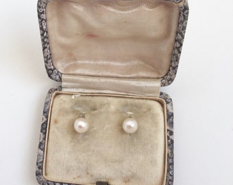 SALE! Antique pearl and white gold collar studs