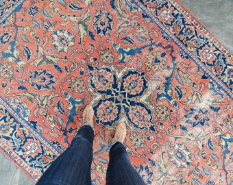 Vintage Persian Rug Handwoven Wool Floral Pile Rug - FREE DOMESTIC SHIPPING