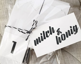 Modern Black and White Advent Calendar Set of 25 WHITE Paper Boxes