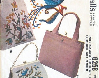 McCall's 1960s Vintage Retro Sewing Pattern 6258 Handbags Purse Pocketbook Uncut Embroidery Sling Satchel Tote Bag