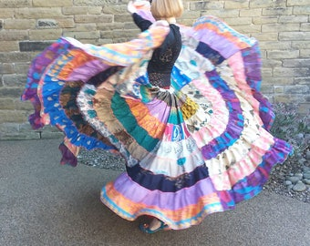 Gypsy skirt. Boho sari skirt. Tribal belly dance costume. Festival clothing. Patchwork upcycled skirt. Petite to plus size. Gift for her