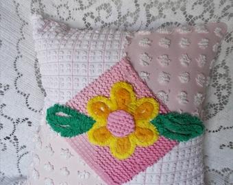 Pink Chenille Pillow, Handmade Pillow, Vintage Chenille, Pink Pillow, Nursery Pillow, Throw Pillow, Accent Pillow, Pillow, Cotton Pillow