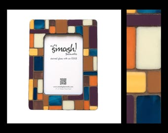 Pastiche: Cerulean Sunset - 4x6 Stained Glass Mosaic Picture Frame