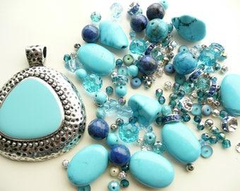 BULK Turquoise Aqua Blue Large Oxidized Silver Pendant 50x60mm & Lapis Rounds - Swarovski Bicone - Nuggets - Czech  4-22mm - Over 145 beads