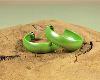 Lime Green Hoop Earrings - Vintage Enamel