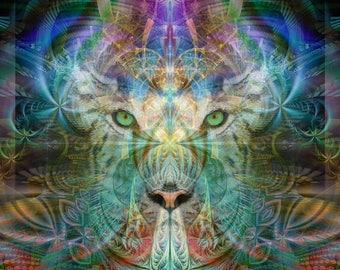 SINHA, The WARRIOR Tapestry Wall Hanging - Pumayana Visionary Art, Psychedelic art, Shamanic, Spiritual Sacred Geometry, Entheogenic Art