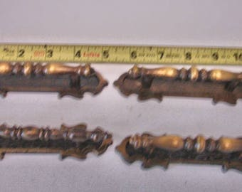 Vintage 4 Slim Vintage brass Pulls With 4 Trim Blates Black And Brass Color Lot no. 24