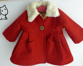 "Doll clothing sewing PATTERN , DIY doll clothes, Waldorf doll ,red  coat for 18-20"" dolls"