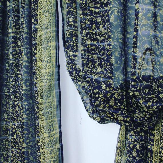 NEW NAVY BLUE Sari Curtain Semi Sheer Indian Window Curtain