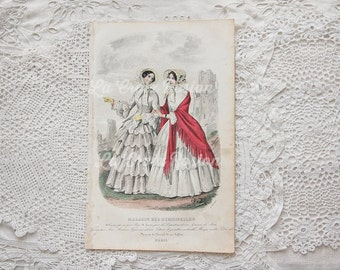 Antique French fashion plate, antique engraving, vintage book plate, fashion illustration, hand tinted, hand colored, ORIGINAL 1800s, No. 2