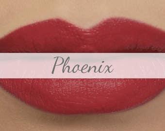"Vegan Matte Lipstick Sample - ""Phoenix"" (dark coral red natural lipstick with opaque coverage)"