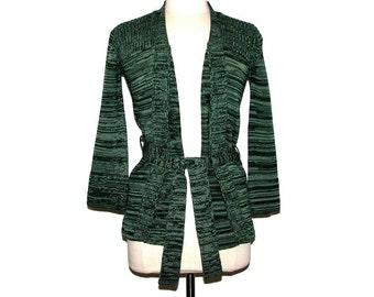 Vintage 70s CORLISS Green Spacedye Knit Tie-Waist Open Cardigan Sweater- Size M