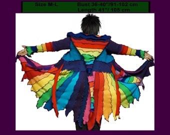 elf coat, size M, size L, sweater coat, elf sweater, pixie, hoodie, patchwork, dreamcoat, gypsy
