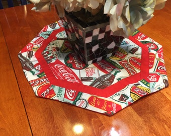 Handmade Round Red and White Coca-Cola Coke Kitchen Chef table runner for dining, housewares, kitchen, Autumn, home decor by MarlenesAttic