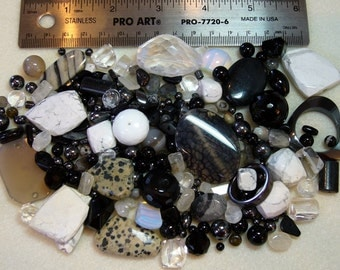 SALE - Destash - Semi-Precious Stone Lot - variety - black, white, clear, grey - beads SP892