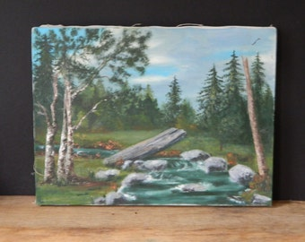 Vintage River Scene Landscape Oil Painting on Canvas. Cabin Decor.