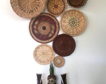 SALE // Vintage Wall Basket set of 8 / Woven Basket Set / Bohemian Wall Baskets