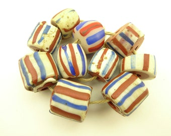 10 pcs authentic 'American flag' Venetian glass beads old African trade AC-0103