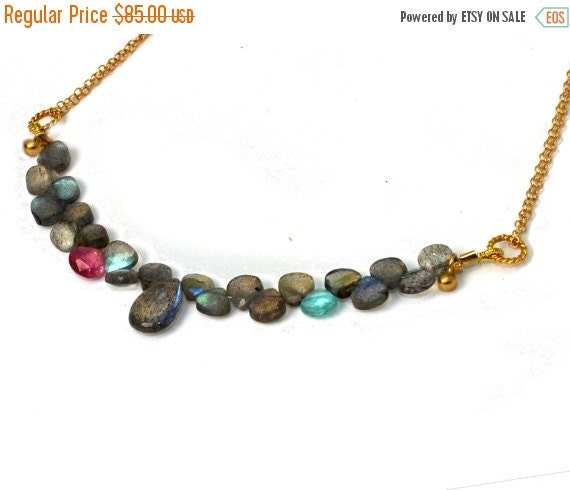 20% off. Labradorite Necklace. Briolette Necklace Pink Tourmaline and Apatite in Gold filled or Sterling Silver. NS-2031