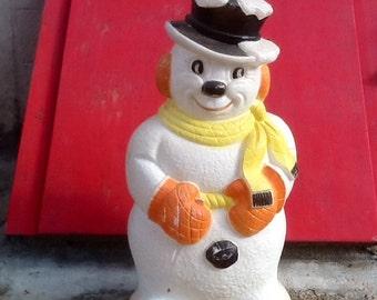 "Snowman Blow Mold Light Vintage Christmas Decor Poloron Frosty 31"" High"