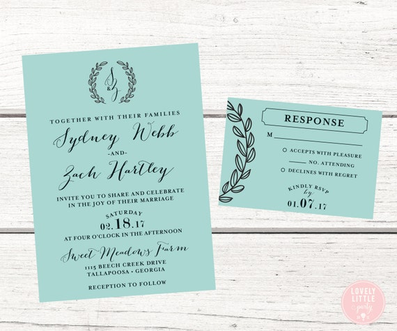 Sydney monogram laurel wedding collection, Wedding Invitation and RSVP design - DIY Printable or Printed Option - Choose colors