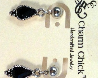 Black & Silver Dangle Earrings