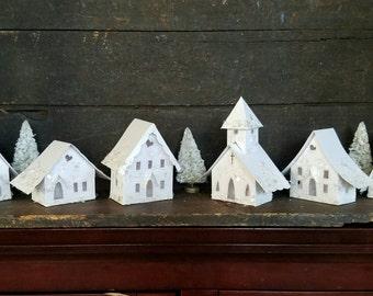 All White Putz Little Glitter House Christmas Village / Handmade / Bottle Brush Trees White or Silver Glitter & Vintage Mica Flakes
