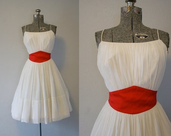 1950's Chiffon White Party Dress / Size XSmall