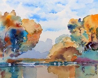 Reflections - print from an original watercolour painting by John Menage size A3 or A4