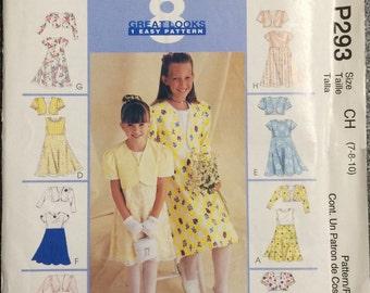 Girls Dress Pattern / UNCUT / McCalls 293 / Girls Dress and Bolero Pattern / Girls Easter Dress / Flower Girl Dress / Girls Special Occasion