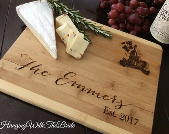 Bridal gift, Personalized Cutting Board, Valentine's day gift, Engraved Cutting Board, Wedding Gift, Anniversary Gift, Engagement